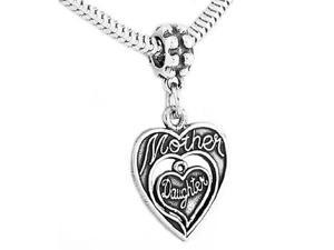 Sterling Silver Mother / Daughter Double Heart Dangle Bead Charm