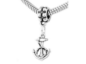 Sterling Silver Faith Roped Anchor Dangle Bead Charm