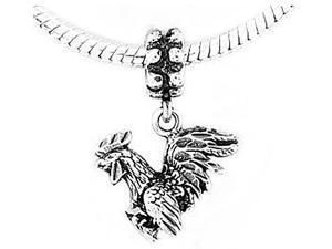 Sterling Silver Gamecock Rooster Dangle Bead Charm