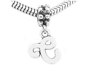 Sterling Silver Letter C Dangle Bead Charm
