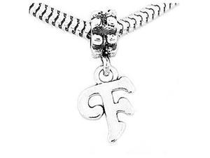 Sterling Silver Letter F Dangle Bead Charm