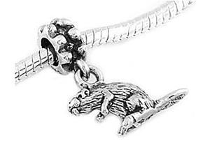 Sterling Silver Beaver Gopher Dangle Bead Charm