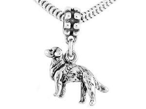 Sterling Silver Three Dimensional Golden Retriever Dog Dangle Bead Charm
