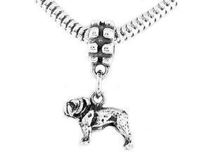 Sterling Silver Small Bulldog Dangle Bead Charm