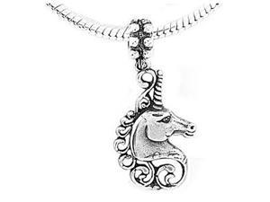 Sterling Silver Mystical Unicorn Head Dangle Bead Charm