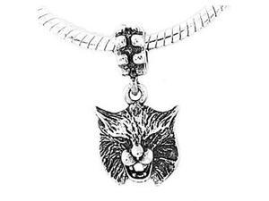 Sterling Silver Bobcat Head Dangle Bead Charm
