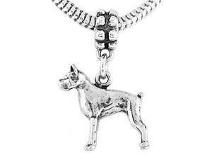 Sterling Silver Three Dimensional Boxer Dog Dangle Bead Charm