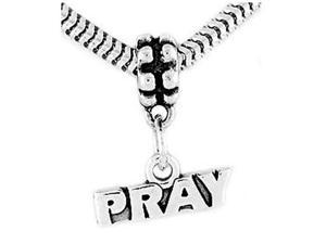 Sterling Silver One Sided Pray Dangle Bead Charm