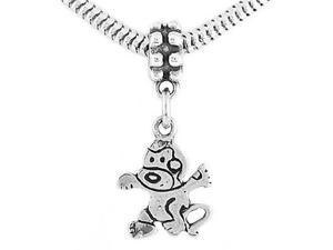 Sterling Silver One Sided Cartoon Monkey Dangle Bead Charm