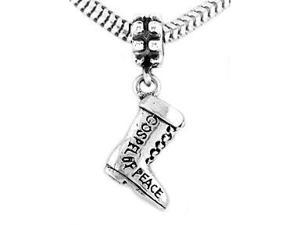 Sterling Silver Three Dimensional Armor of God Boot Dangle Bead Charm