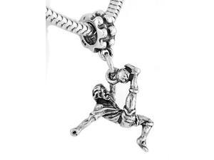 Sterling Silver Soccer Player Kicking Ball Dangle Bead Charm