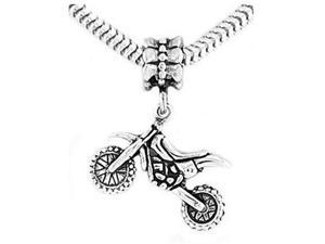 Sterling Silver Three Dimensional Dirt Bike Dangle Bead Charm