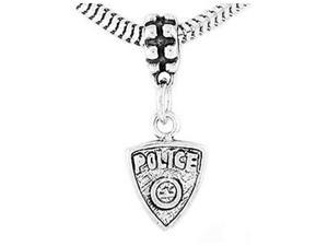 Sterling Silver One Sided Police Badge Dangle Bead Charm