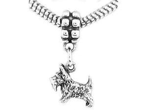 Sterling Silver Three Dimensional Scottish Terrier Dangle Bead Charm
