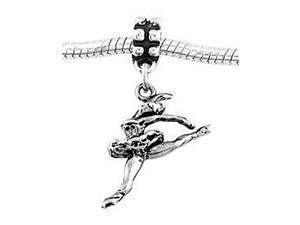 Sterling Silver Jumping Ballerina Dangle Bead Charm