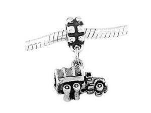 Sterling Silver Military Cargo Truck Dangle Bead Charm