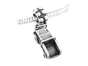 Sterling Silver Three Dimensional Commercial Dump Truck Dangle Bead Charm