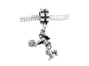 Sterling Silver Female Volleyball Player Dangle Bead Charm
