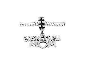 Sterling Silver Basketball Mom Dangle Bead Charm