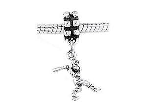 Sterling Silver Small Baseball Player with Bat Dangle Bead Charm