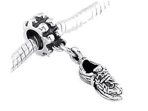 Sterling Silver Three Dimensional Tennis Shoe Dangle Bead Charm