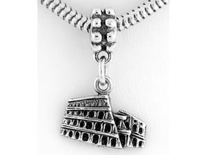 Sterling Silver One Sided Rome Colosseum Building Dangle Bead Charm