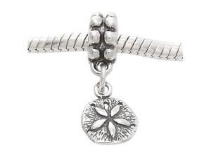 Sterling Silver One Sided Small Tiny Sand Dollar Dangle Bead Charm