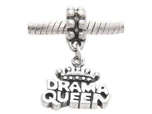 Sterling Silver One Sided Drama Queen Dangle Bead Charm