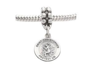 Sterling Silver One Sided Small Saint Christopher Disc Dangle Bead Charm