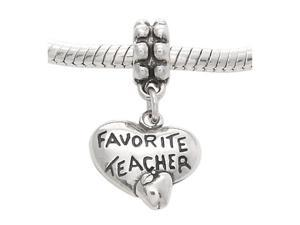 Sterling Silver One Sided Favorite Teacher Heart Dangle Bead Charm
