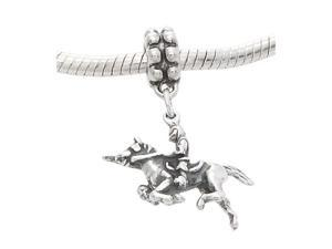 Sterling Silver Three Dimensional Knight Riding on Horse Dangle Bead Charm