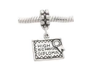 Sterling Silver One Sided High School Diploma Dangle Bead Charm