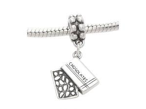 Sterling Silver One Sided Box of Chocolates Dangle Bead Charm