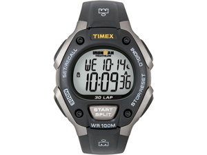 Timex Men's T5E901 Black Resin Quartz Watch with Grey Dial