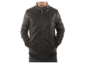 Alta Men's Motorcycle Bomber Faux Leather Jacket Fleece Lined with Ribb Bottom - Black - M