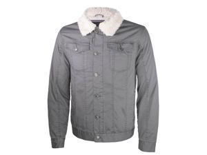 Ameritac Men's Sherpa-Lined Work Twill Jacket Button Up Outerwear - Gray - M