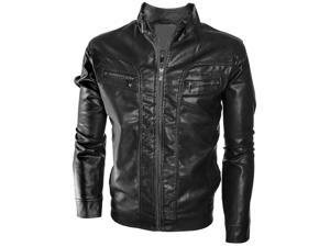 Alta Men's Motorcycle Faux Leather Jacket Quilted Lining Zip Up Outerwear - Black - XL