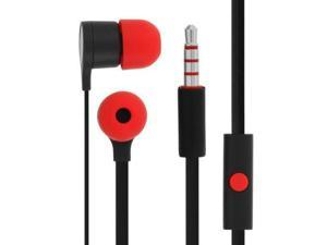 HTC Tangle Free Wired Earbuds with In Line Remote Hands-Free Stereo Headset Red