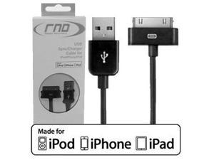 RND Apple CERTIFIED 30-Pin Cable for iPad  iPhone  iPod (3.2 Feet/black)