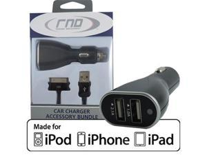 RND Apple CERTIFIED Car Kit includes 3.1A (fast) Dual Car Charger & (3ft) charging cable made for Apple (iPad / iPhone / ...