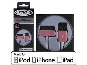 RND Apple CERTIFIED 30-Pin Cable for iPad  iPhone  iPod (6 feet/Pink and white cable)