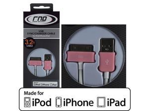 RND Apple CERTIFIED 30-Pin Cable for iPad  iPhone  iPod (3.2 Feet/Pink and White)