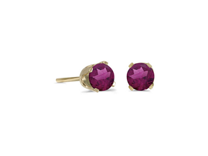 14k Yellow Gold Round Rhodolite Garnet Stud Earrings