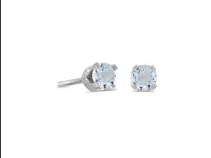 14k White Gold Round Genuine Aquamarine Stud Earrings