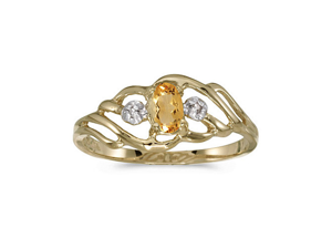 14k Yellow Gold Oval Citrine And Diamond Ring (Size 4.5)