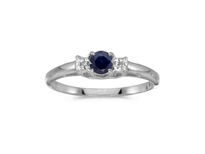10k White Gold Round Sapphire And Diamond Ring (Size 4.5)