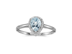 14k White Gold Pear Aquamarine And Diamond Ring (Size 6)