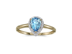 14k Yellow Gold Pear Blue Topaz And Diamond Ring (Size 5)