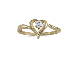 14k Yellow Gold Round White Topaz Heart Ring (Size 4.5)