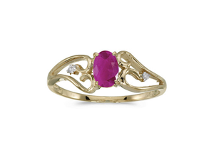 14k Yellow Gold Oval Ruby And Diamond Ring (Size 5)